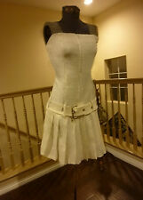 SEXY STRAPLESS ZIP FRONT MINI WITH BUCKLE & PLEATED SKIRT-