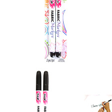Tulip Permanent Nontoxic Fabric Markers Black 2 Pack - Laundry Markers, Fine .