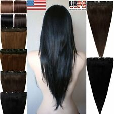 "16""18""20""22""24""26"" Clip In Remy Human Hair Extensions Long Straight One Piece F6"