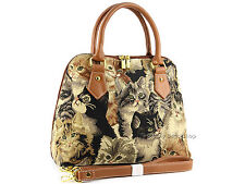 Signare Ladies Womens Woven Tapestry Fashion Handbag Shoulder Bag In Cats Design