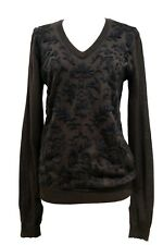 D&G BROWN V-NECK EMBROIDERED SWEATER, L, $895