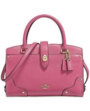 New COACH Mercer Satchel 24 Pebble Leather Bag Rouge Pink