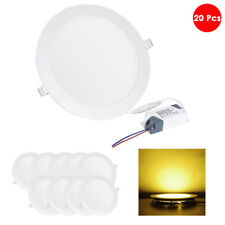 20 Pcs 15W Round Recessed Led Ceiling Panel Down Light Bulb Lamp Warm White Home