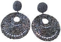 Kenneth Jay Lane Grey Hematite Seed Bead Gypsy Beaded Drop Pierced Earrings