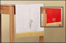 Jacquard Reversible Table Runner Red And White For Church Service NEW SKU LC028
