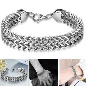 Mens Stamped 925 Solid Silver Filled Plated Curb Chain Link bracelet Gift