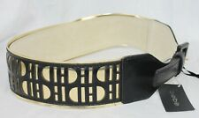 """Bebe Belt Leather Perforated Black With Metallic Gold Under Layer 2"""" Wide New XS"""