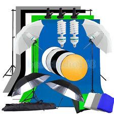 Photography Studio 5 Backdrop 4 Umbrella Lighting Kit + Background Support Stand