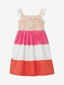 MINI BODEN GIRLS 'ICE CREAM' FRILL SLEEVE DRESS PINK AGE 4 - 5 YEARS NEW (700)