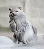 "Porcelain Long Hair Persian Cat Figurine Avon 1984 White & Gray 3""Tall X 3""Wide"