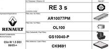 RE3S KIT 4 FILTRI TAGLIANDO RENAULT CLIO III 1.5 DCI 63 KW 86 CV