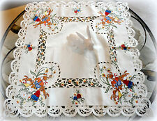 """Eggscitment 33"""" Table Topper Lace  Doily Bunnies Rabbit Easter Spring Daffodil"""
