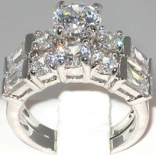 Engagement Wedding Ring Set - Size 8 Luxurious 6.5 Ct. Cz Platinum Ep Bridal