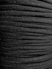 Black 550 Paracord Mil Spec Type III 7 strand parachute cord 10 25 50 100 ft