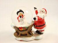 Christmas Holiday table decor snow Globe Santa Clause Snow Man Sleigh Ride New