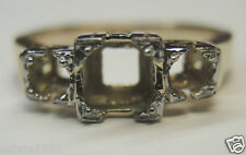 Antique Ring Setting Mounting Mount Platinum 14KY Hold 1-5.5mm 2-3.5mm Size 6.5
