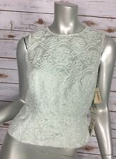 Oleg Cassini Beaded Top Womens 4 3069 Mint Green Sleeveless Black Tie NOS