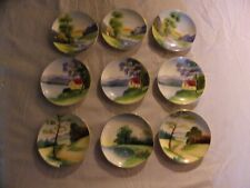 Acme China Lot of 9 Small Collectible Japan Wall Hanging Plates 4 in.