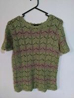 Women's Top Green Knitted Short Sleeve Open Knit