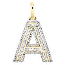 "10K Yellow Gold Baguette Diamond Letter A Pendant 1.20"" Initial Charm 0.57 CT."