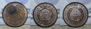 1864 Two Cent Piece 2c Unc Details Rotated Die Error / Struck Through