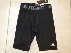 "New Adidas black compression techfit base layer 9"" shorts bottoms. Size Large"