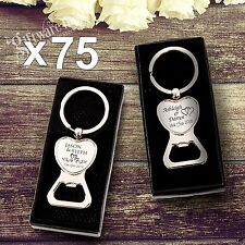 75 x Engraved Solid Heart Bottle Opener Keyring Wedding Favour Gift Personalised
