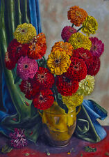 Zinnias Spring Flowers C1900s Painting Still Life Colourful Canvas Print A3