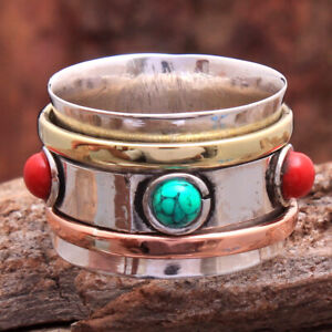 Turquoise Coral 3 Tone 925 Sterling Silver Jewelry Spin Band Ring Size US 8