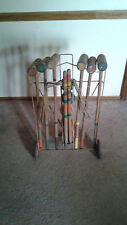 Antique 6 Player Croquet Set Complete with Stand