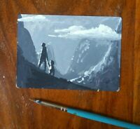 Original ACEO sketch card  mountains miniature painting