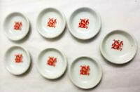 7 China Soy Sauce Bowls Saucers Japanese Sushi Wasabi White Red Dragon Design