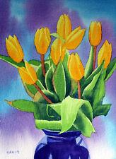 Yellow Tulip, Flower, Garden, Original Watercolor Painting, Signed, Art