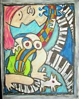 Figure 8 Blues 11x14 Cubist Art Print by Artist Kimberly Helgeson Sams Cubism