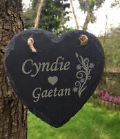 Personalised Birthday Home Gift Engraved Heart Slate Plaque Wedding Anniversary