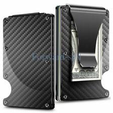 RFID Mens Wallet Blocking Carbon Fiber Minimalist Money Clip Front Pocket