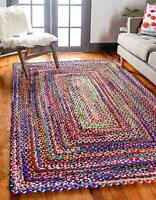 Rectangle Reversible Natural Cotton Chindi Rug Braided Floor Rugs Area Rag Rug