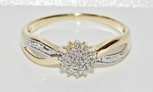 9CT YELLOW GOLD & SILVER DIAMOND LADIES CLUSTER RING ~ size O