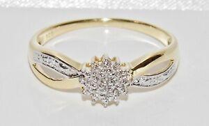 9CT YELLOW GOLD & SILVER DIAMOND LADIES CLUSTER RING ~ size U