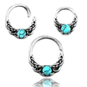SINGLE 16g STERLING SILVER TURQUOISE SEPTUM RING NOSE EARRING TRAGUS HELIX HOOP