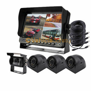 """4CH 7"""" DVR Monitor Car Backup Rear View Camera System for RV Truck trailer Bus"""