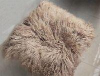 100% Real Mongolian Lamb Tibetan Fur Pillowcase Fur Unique Cushion Cover 18x18''
