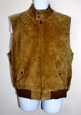 Orvis Men's Full Zip Tan Brown TARTAN Plaid Lined SUEDE LEATHER Vest Jacket Sz L