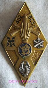 IN19078 - Insigne 402° B.C.S, argenté et doré, resine, dos guilloché argenté