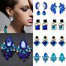 Fashion Women Blue Statement Gold Silver Plated Crystal Dangle Drop Earrings F6