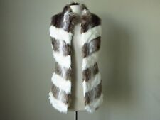 NWT White house black market chevron faux fur vest jacket brown ivory Small