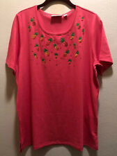 Quacker Factory Women Embroidered Knit Top Hot Pink Pineapple Large NWT