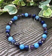Amethyst Angelite Lapis Bracelet Reiki Healing Gemstone PSYCHIC PROTECTION Gift
