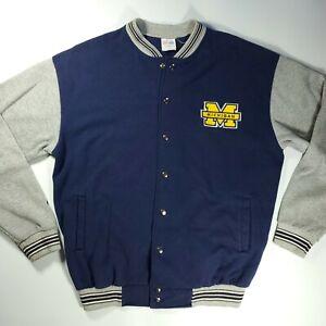 Majestic Mens Michigan Wolverines Button Up Letterman Jacket Coat Size Large L