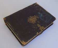 Antique Victorian Leather Photo Album Black and Gold Gilt Roses E. H. Alley